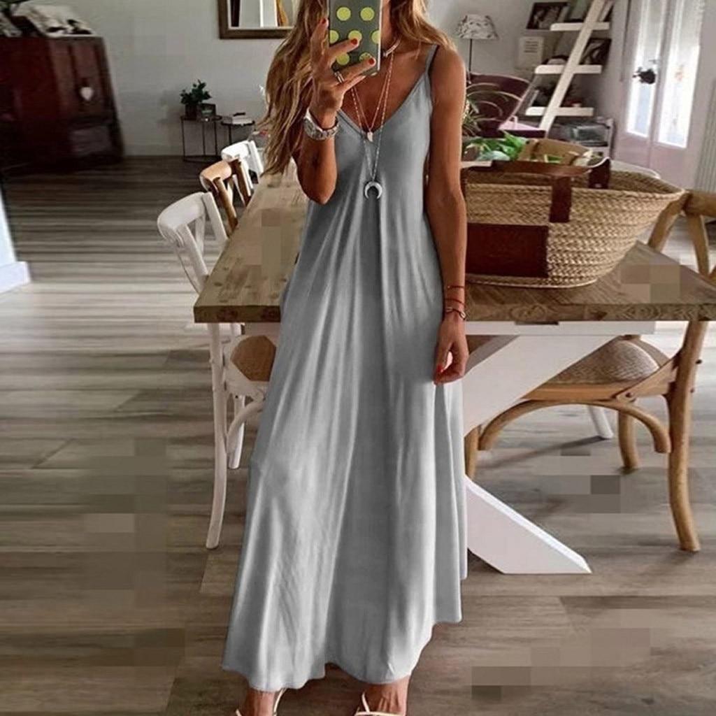 Dress Women Casual Sleeveless Camisole V neck Print Tank Long Dress Plus Size XL Vestidos