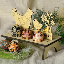 Пасхальный лоток для яиц кролик из дерева цыпленок пасхальное яйцо стойка пасхальное украшение для домашнего магазина окна орнамент ручной работы пасхальный декор