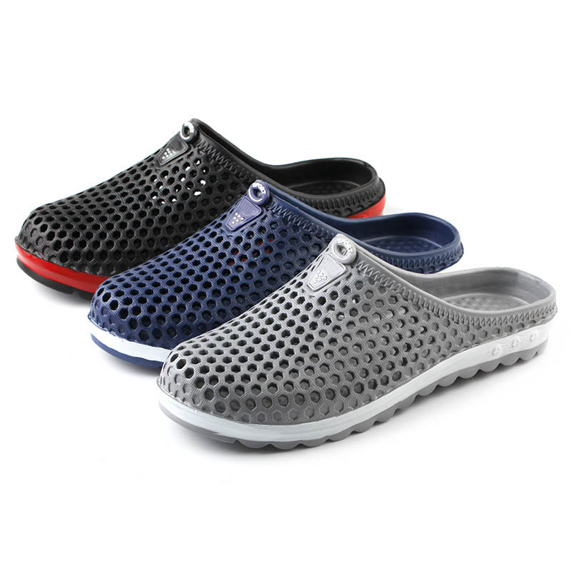 Men Shoes Beach Casual Slippers Unisex Hollow Slippers Male Pool Sandals Bathroom Flip Flops Lightweight Mules Beach Slides|Slippers|   - AliExpress