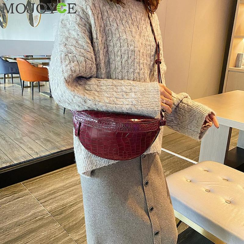 Fashion Snake Print Chest Bag Women Solid Color PU Leather Money Purse Casual Shoulder Crossbody Pack