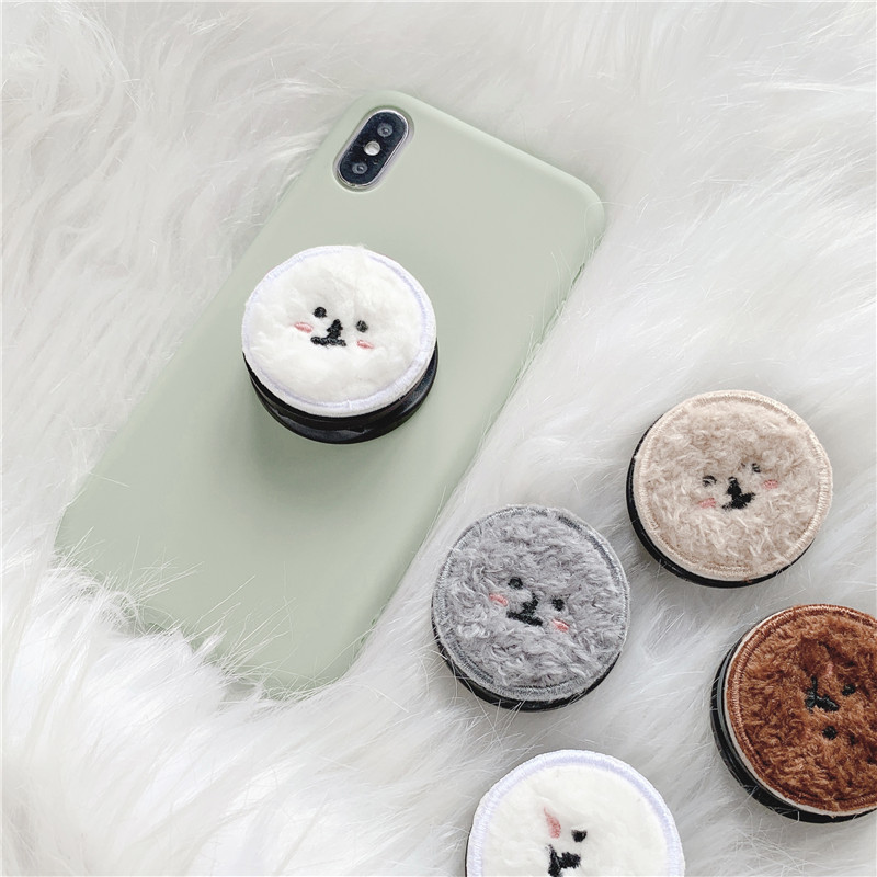 Fuzzy Cloth Fabirc Cute Folding Stand For Mobile Phone Holder For Huawei For Samsung Phone Case Funny Cartoon Dog Grip Kichstand