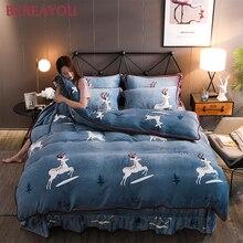 Luxury Bedding Sets Flannel Polyester Cartoon Home Textile King Size Kids Duvet Cover Set Bed Sheet conjunto de cama