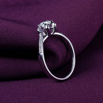 18k White Gold Platinum  Gold Diamond Engagement Ring  2