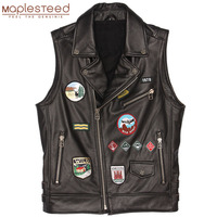 Men Motorcycle Vest Patches 100% Natural Cowhide Slim Fit Genuine Leather Vest Moto Waistcoat Men Leather Jacket Sleeveless M448
