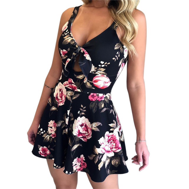 VITIANA Women Beach Rompers Female 2019 Summer Lace Up Print Floral Casual Short Jumpsuit Sleeveless Bodycon Sexy Party Playsuit 4