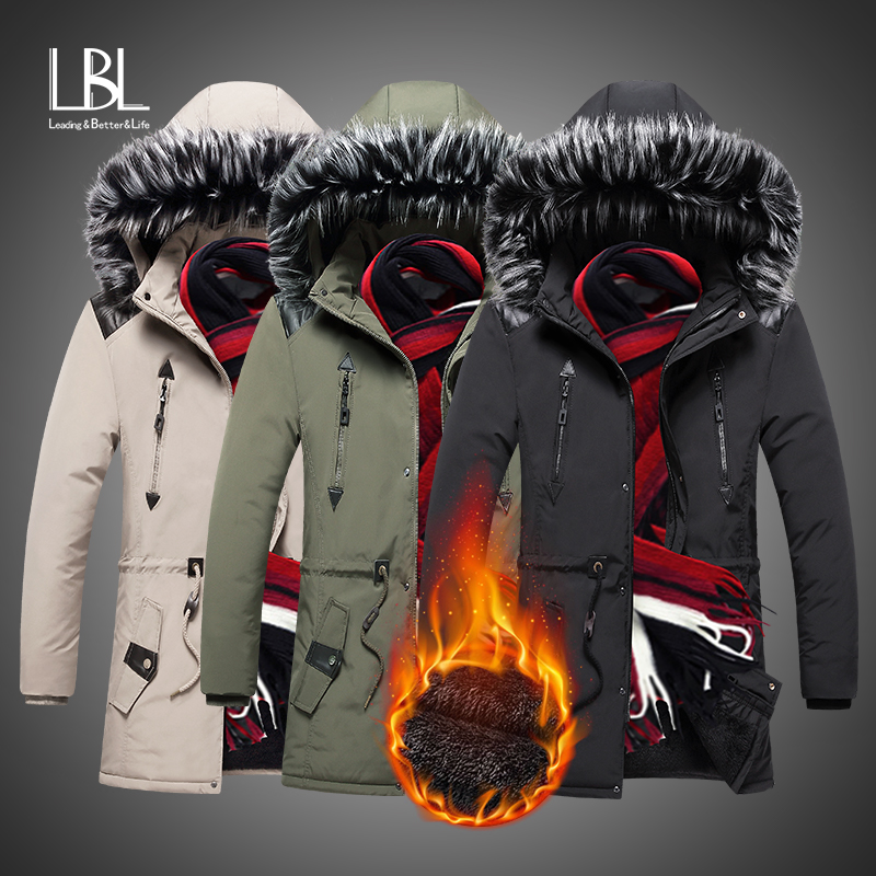 Fur Collar Hooded Men Winter Jacket 2019 New Fashion Warm Wool Liner Man Jacket Coat Windproof Male Parkas Casaco Long Overcoats
