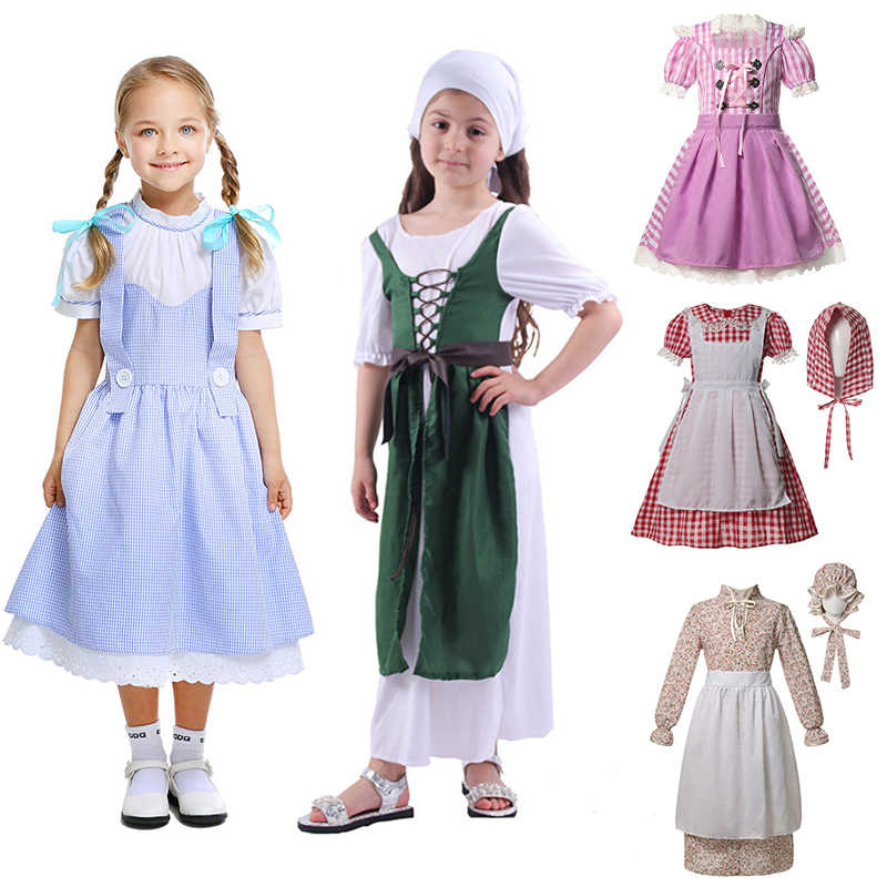 2020 Country Style Girl Dress Northern Ireland Dress With Headwear Children Clothing Maid Halloween Party Cosplay Costumes Kids Aliexpress