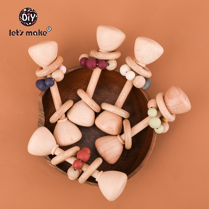 Let's Make Wooden Baby Toy Rattle 1pc Beech Bear Hand Teething Wooden Ring Rattles Play Gym Montessori Stroller Educational Toys