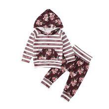 Спортивный костюм для новорожденных девочек, топ с длинными рукавами, штаны с капюшоном, комплект одежды, комплект одежды для младенцев