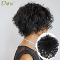 DI FEI женские натуральные цвета короткие вьющиеся волосы для наращивания на клипсе 7 дюймов 10 дюймов высокотемпературный синтетический пари...