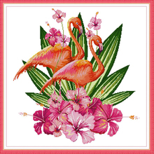 Joy Sunday,Flamingo,cross stitch embroidery set,cross pattern,cross needlework,Animal pattern cross kit