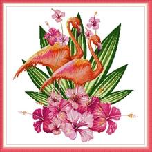 Joy Sunday,Flamingo,cross stitch embroidery set,cross stitch pattern,cross stitch needlework,Animal pattern cross stitch kit цена