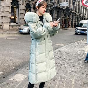 Image 1 - Женский пуховик с капюшоном, длинная теплая куртка на белом утином пуху, Воротник из 2019 натурального меха лисы, верхняя одежда, зима 90%