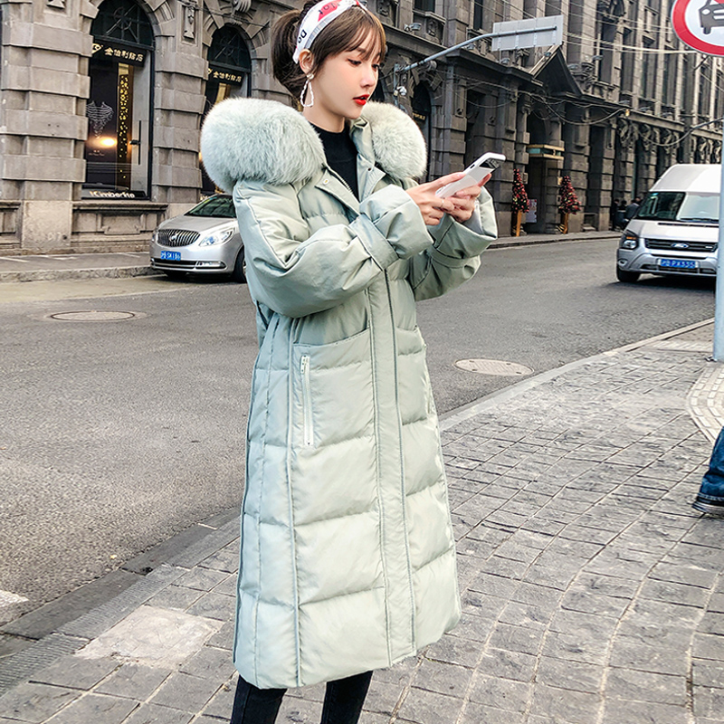 High quality Winter Women Coat Down Jacket 2019 Fashion Real fox fur collar 90% White Duck down Hooded Long Warm OutwearDown Coats   -