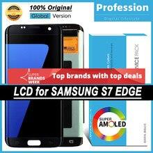 100% original 5.5 amamamoled display para samsung galaxy s7 borda g935 g935f lcd touch screen digitador peças de reparo + serviço pacote