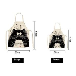 Image 2 - חמוד Cartoon חתול הדפסת מטבח סינר עמיד למים סינר כותנה פשתן Wasy לניקוי בית כלים 12 סגנונות לבחירה