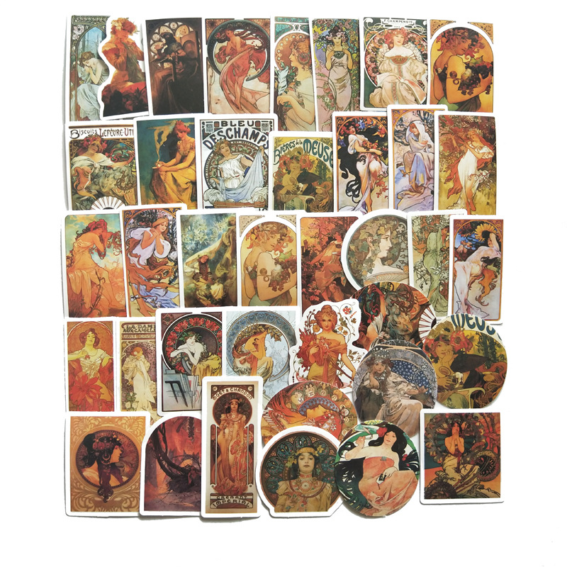 38pcs Vintage Famous Artist Oil Painting 2020 Waterproof Stickers DIY Suitcase Thermos Cup Toys Sticker