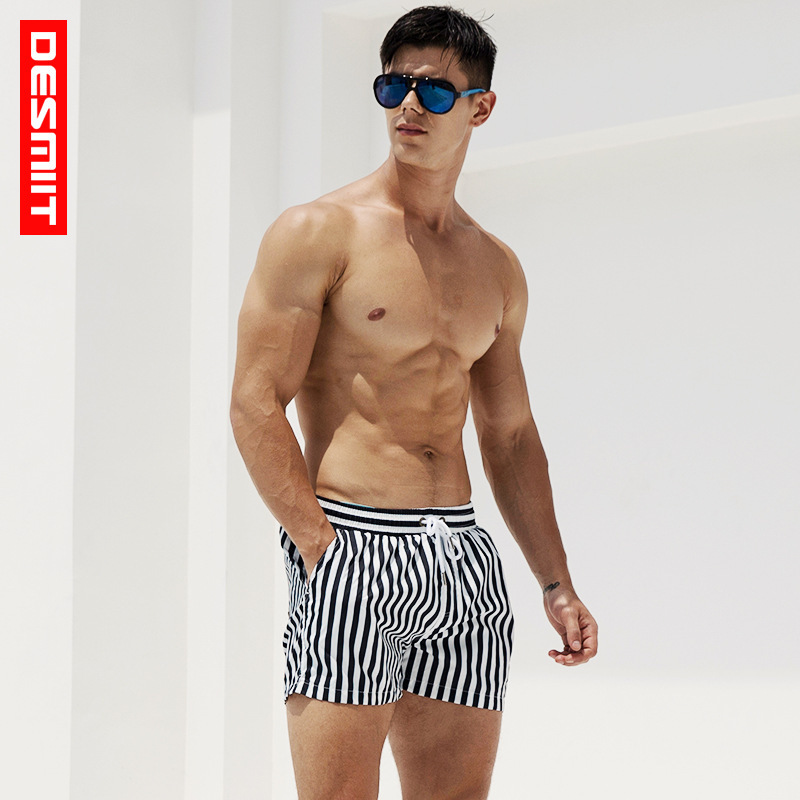 Deiit Men's Stripes Beach Shorts Quick-Dry Navy Style Loose-Fit Summer Fashion Man Seaside Play With Water Shorts