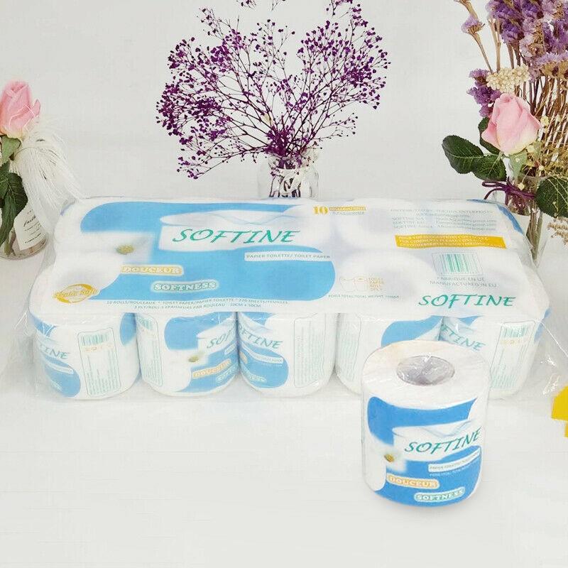 10 Roll Toilet Paper Roll Home Kitchen Bath Tissue Bathroom White Soft 3 Ply New H9