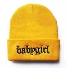 Babygirl bordado inverno quente malha gorro skullies chapéu 100% algodão flexível macio moda gorros unisex hip hop esqui boné