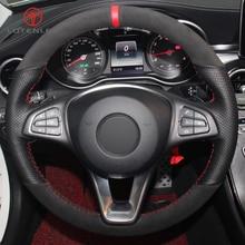 Черная замшевая Оплетка на руль LQTENLEO из натуральной кожи для Mercedes Benz C180 C200 C300 B200 E200 E300 CLS300 GLC260 GLC300