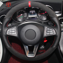 LQTENLEO Black Genuine Leather Suede Steering Wheel Cover for Mercedes Benz C180 C200 C300 B200 E200 E300 CLS300 GLC260 GLC300