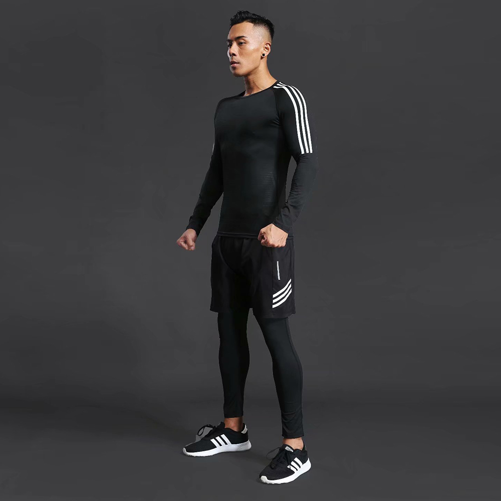 Men's Compression Sports Suit Outdoor Running Jogging Clothes T-shirt Fitness Pants Gym Exercise Training Tight Clothes