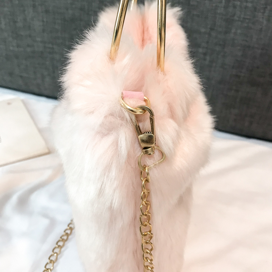 Fall 2019 Fashion Plush Design Women Bags Party Luxury Handbags Messenger Crossbody Bags For Women Casual Solid Color Handbag in Top Handle Bags from Luggage Bags