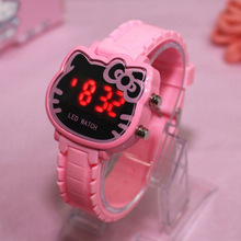 Hello Kitty Women Kids Watches Girls Silicone Electronic Spo