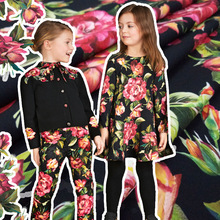 Autumn and winter models flower-shaped parent-child decoration rose flowers digital printing fabrics brand flower custom