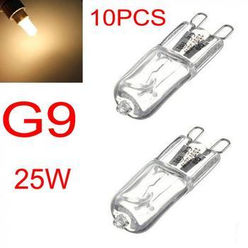 цена на 10PCS Halogen Bulb G9 25W Warm White Halogen Bulb Light Lamp 3000-3500K Globe 230V Capsule Clear Bulbs For Home Lighting