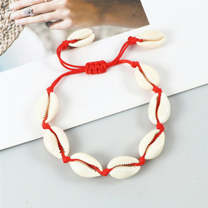 Charm Women Shell Anklets Bracelets Woven Conch Handmade Bracelets Bangles Red Rope Ankle Barefoot Chain Girl Beach Jewelry Gift