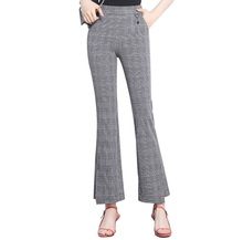 TENTEN flare pants stretch plaid high waist trousers push up women bell bottom ladies bootleg office