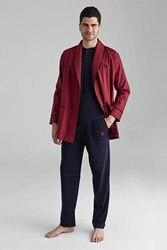 US Polo Assn Male Maroon 1 Long-Sleeve Sleepwear + 1 Short-Sleeve Şortlu Suit + 1 Dressing Gown US.01.12000