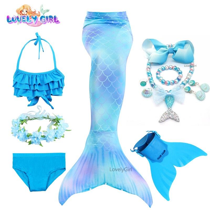 Детский костюм-бикини LovelyGirl с хвостом русалки, костюм русалки, костюм для косплея, детский купальник, фантастическое пляжное бикини с монол...