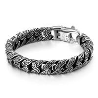 ZPAMS Mens Stainless Steel Bangle Bracelet Black Color Vintage Personal Pattern Bracelets for Men 22cm Length Charm Bangles