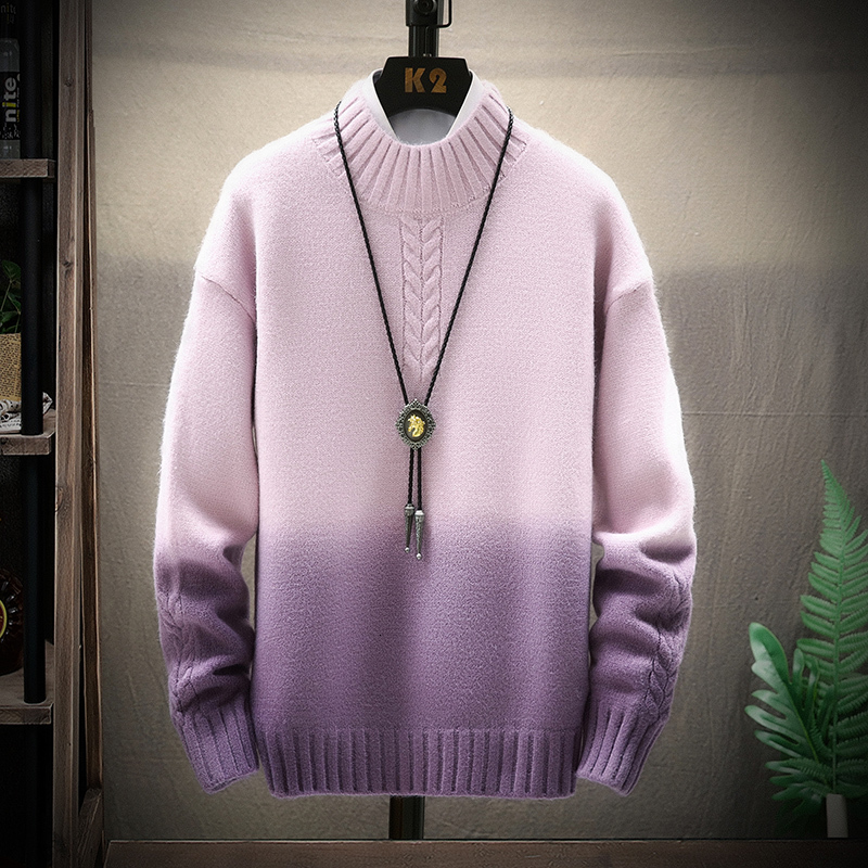 Winter Stand Collar Sweater Men Warm Fashion Tie Dyed Contrast Color Casual Knit Sweaters Loose Long Sleeve Pullover Men Sweter