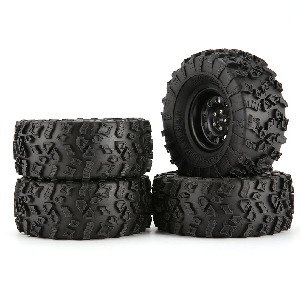 4pcs 130mm 2.2in Rubber Tire With Alloy Beadlock Wheel Rim For  AXIAL SCX10 90046 RC4WD D90 1/10 RC Rock Crawler Car