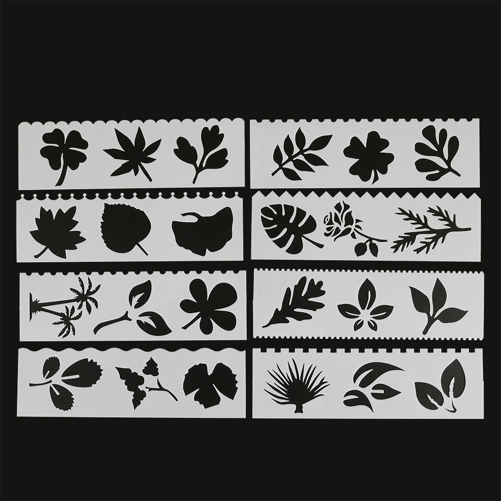 8Pcs/Set Leaves Shaped Gingko DIY Layering Stencils Painting Scrapbook Coloring Embossing Album Decorative Card Template