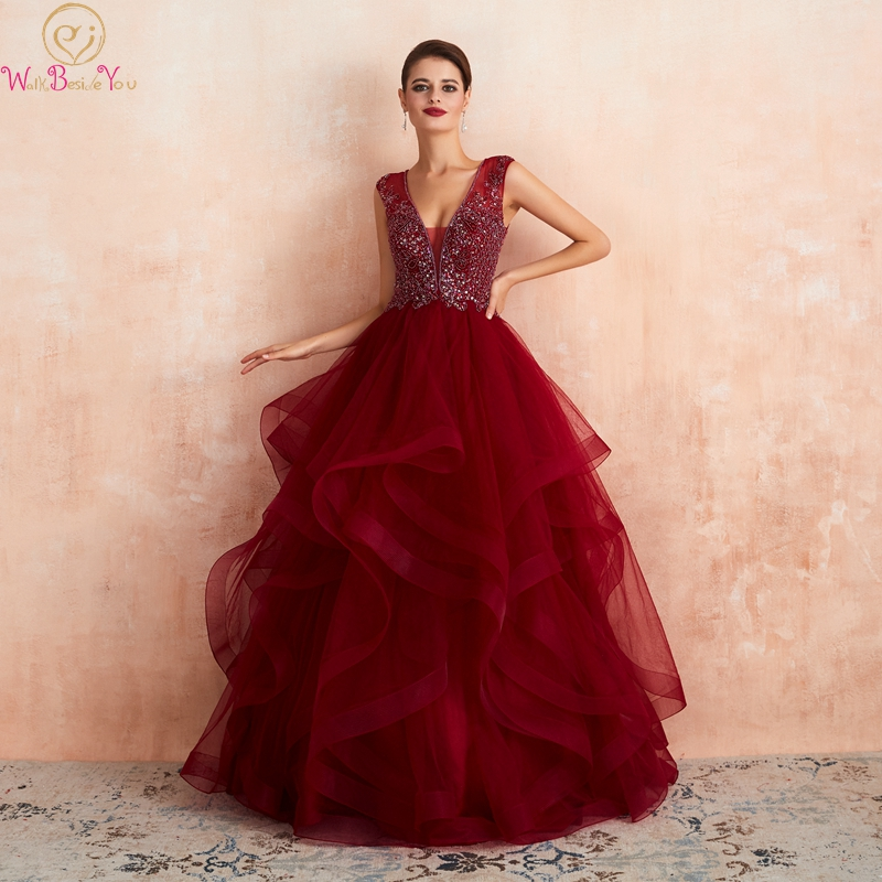 Wine Red Formal Party Ruffles Prom Dresses 2019 Elegant Beading Sequins Sleeveless Fairy Vestidos De Gala V-Neck Evening Gowns