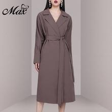 Max Spri 2019 New Fashion Women Casual Lapel Belt Long Sleeveless Trench Dress OffIce Lady Wearings