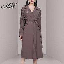 Женское платье Тренч с отворотом max spri повседневное длинное