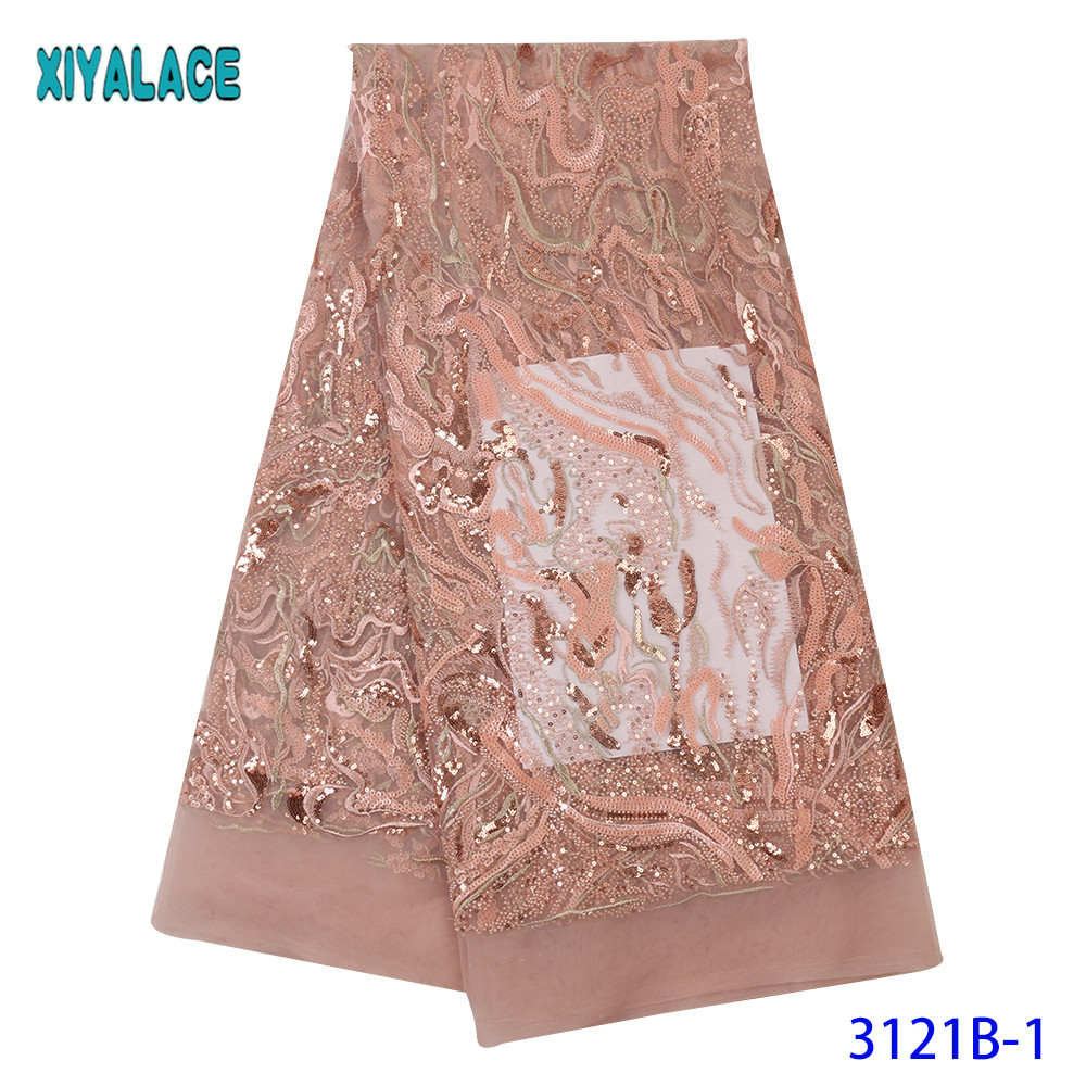 New Design High Quality Nigerian Tulle Lace African Mesh Lace Fabric French Net Lace With Beads For Wedding KS3121B