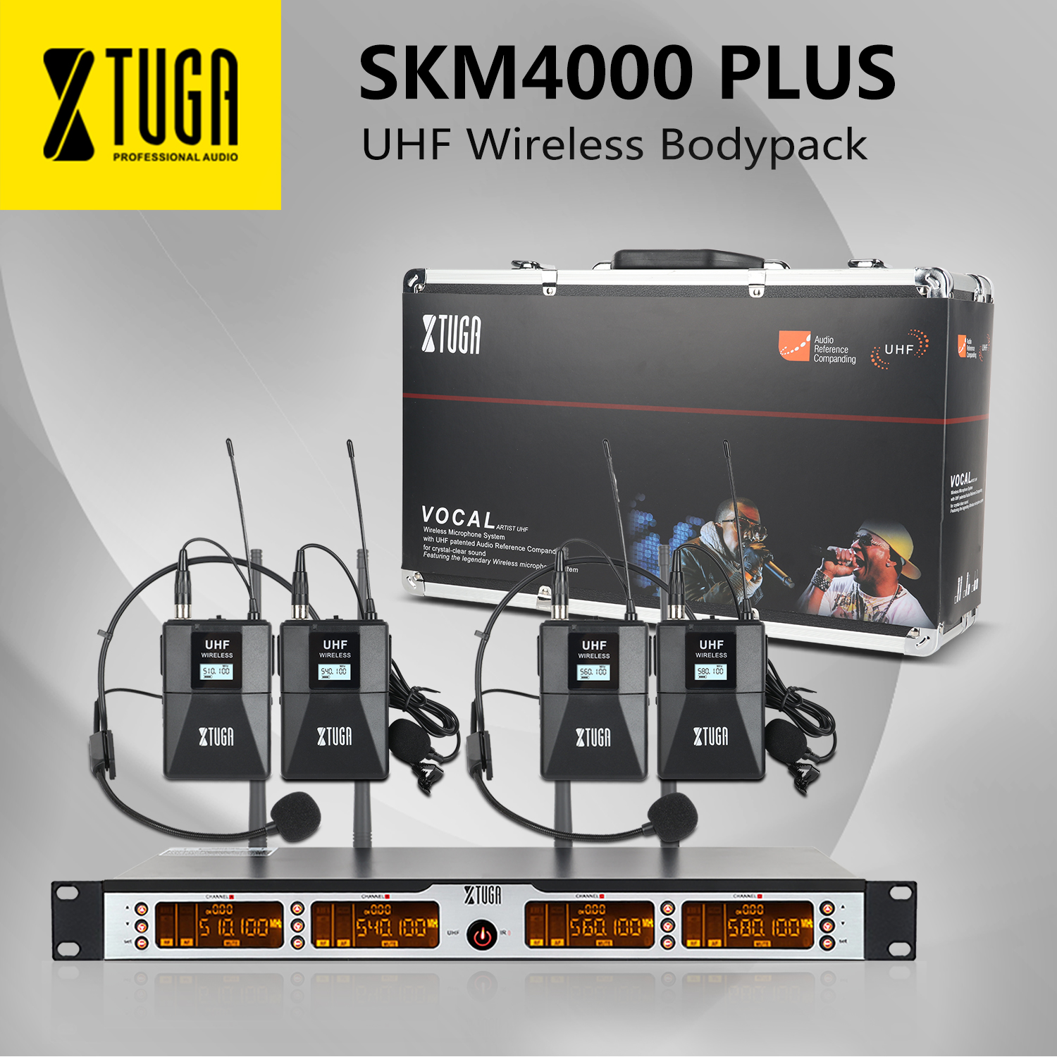 XTUGA SKM4000PLUS Professional 4*100 Channels UHF Wireless Bodypack Microphone System, Selectable Frequency, Up To 260Ft