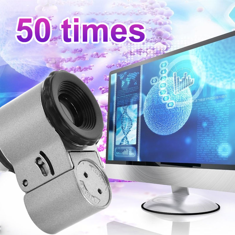 Mini Magnifier Magnifying Glass 50X LED Lights Reading Jewelry Desktop UV Lamp Practical Currency Detector Archaeology Research