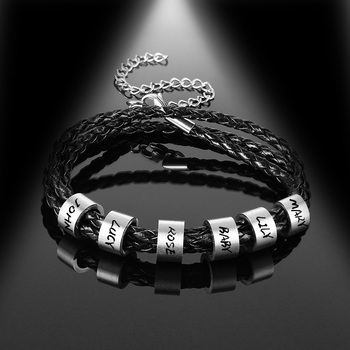 lucktune Custom Family Names Bracelet Men Personalized Engraved Stainless Steel Beads Leather Bracelets Bangle Fathers day Gift personalized custom names men braided rope genuine leather magnetic buckle bracelet with stainless steel beads husband gift