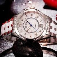 2019 diamond bracelet stainless steel quartz design fashion ladies wrist watch ceramic watch band for women