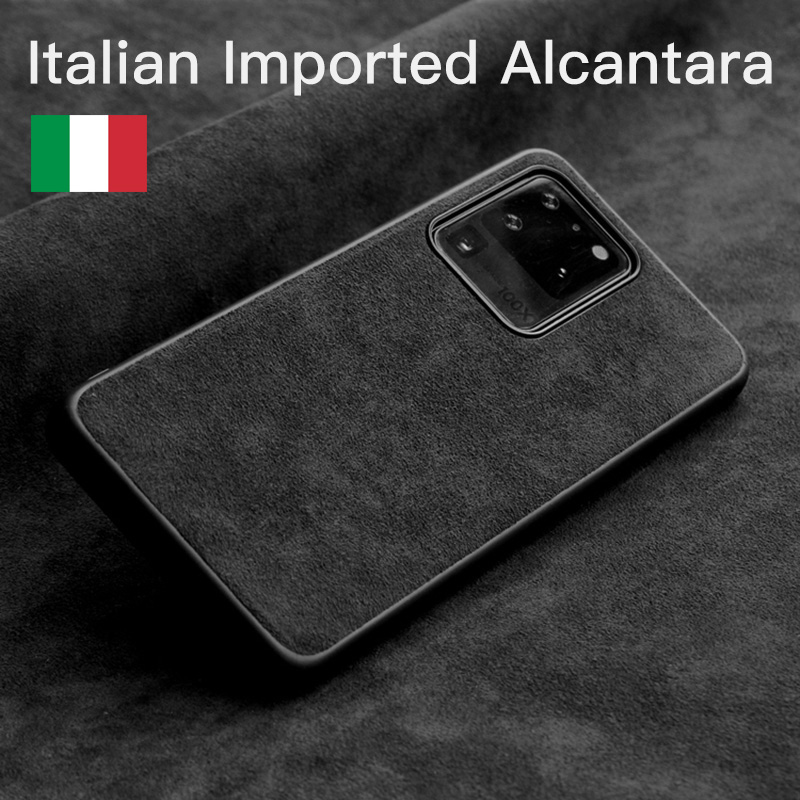 YMW Italian Alcantara Case for <font><b>Samsung</b></font> Galaxy S20 Ultra S10 9 20+ Note10 Plus 5G Fashion Luxury Artificial Leather Phone Cases image