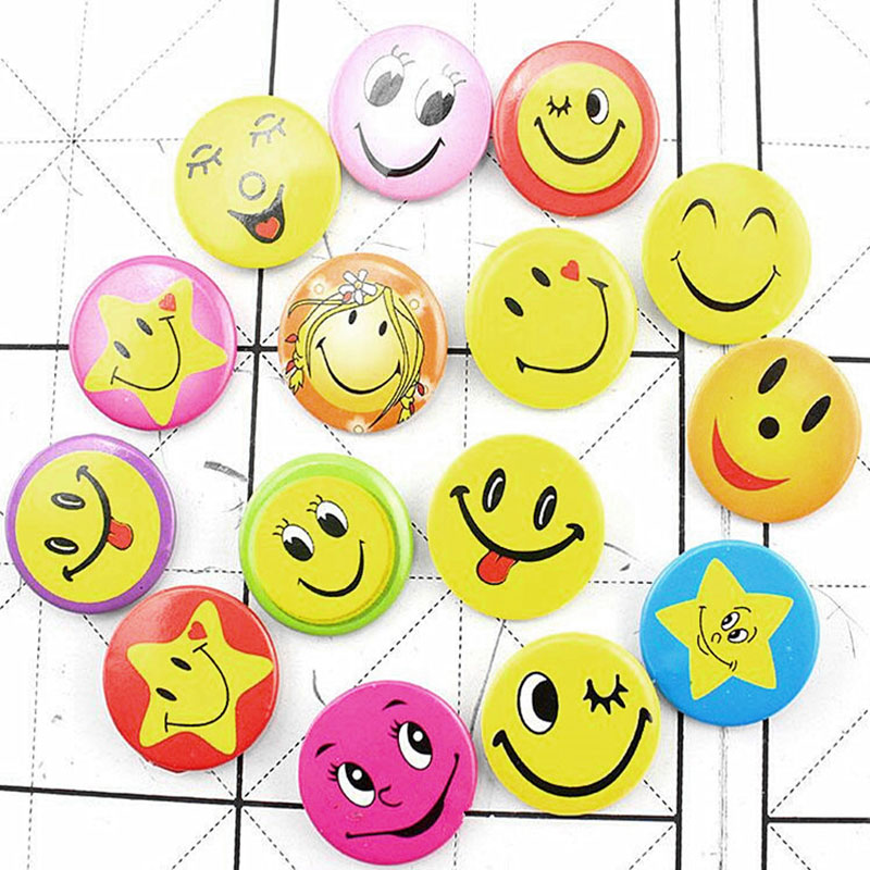 10pcs/lot Mixed Smile Face Badges Pin On Button Broochs Smiley Face Icons Smile Fun Badge DIY Jewelry Accessories