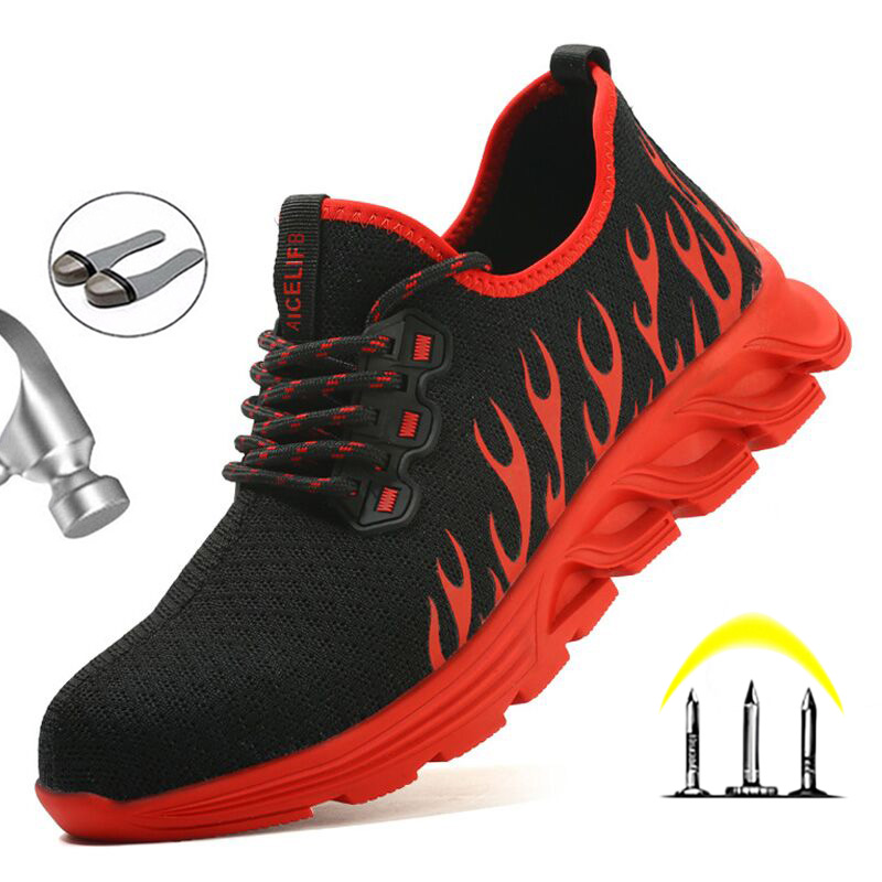 Yadibeiba Work Boots Men Construction Outdoor Steel Safety Shoes Puncture-Proof Workers Sneakers Men Shoes Breathable Footwear